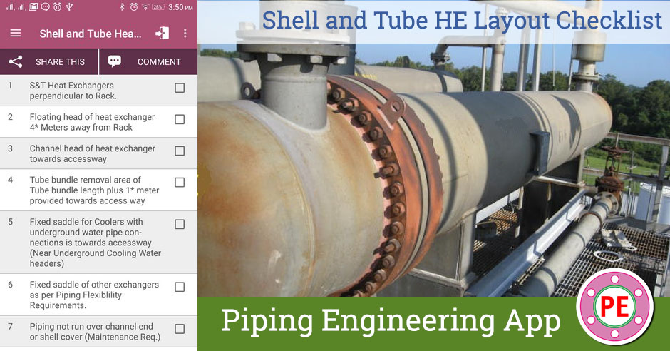 checklist shell and tube heat exchanger layout the web design standards list piping layout checklist #13