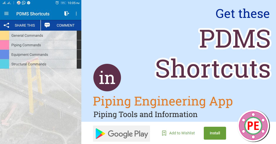 PDMS Shortcuts » The Piping Engineering World