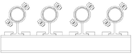 Clamped pipe supports at 45 degree.