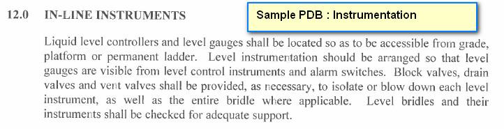 Instrumentation : Piping Design Basis